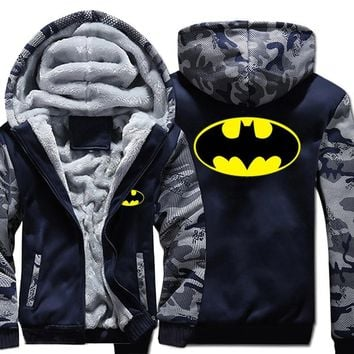 Batman Dark Knight gift Christmas USA SizeSuperhero Batman Hoodie in Men's Hoodeis Sweatshirts Winter Fleece Thicken Zipper Hoody Unisex Coats Free shipping AT_71_6