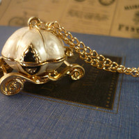 Cream and Gold Pumpkin Carriage Cinderella Locket by montagesupply