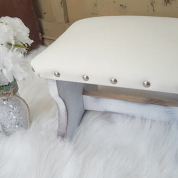 white leather shabby chic stool