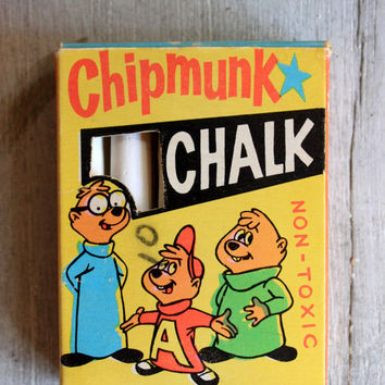 Alvin and the Chipmunk Boxed Chalk Creston Co. : vintage