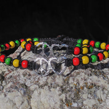 Rasta Black Hemp Choker and Bracelet Set