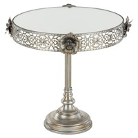10 Inch Vintage Floral Round Mirror-Top Cake Stand (Silver)