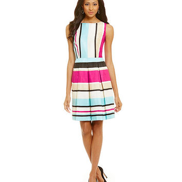 Antonio Melani Campbell Stripe-Print Pleated Dress | Dillards