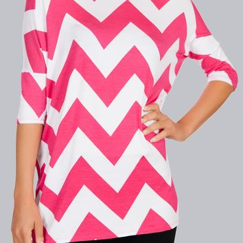 Womens  Chevron Print Loose Fit Short Sleeve Long Tunic Top - USA