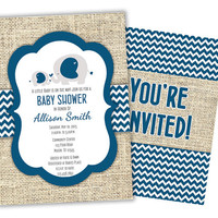 Navy Chevron Elephant Baby Shower Invitations - Burlap Boy Baby Shower Invite - Neutral Baby Shower - Baby Elephant - Its a Boy - Mom Baby