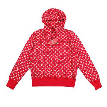 Supreme x LV Louis Vuitton Autumn And Winter Hooded Women Men Fashion Pullover Hoodie Top Sweater Red