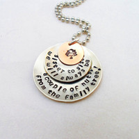 HAND STAMPED JEWELRY-  Sister Pendant, Family Tree, Funny Quote