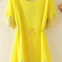 Chiffon Top with Lace Rim with Thin Belt EDHV645