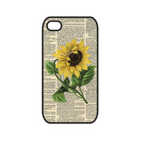 Dictionary Art Sunflower Vintage Victorian - iPhone 4 and 4S Case
