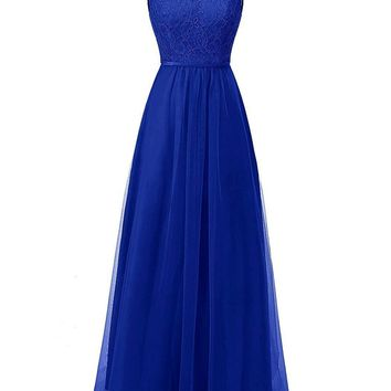US Womens Tulle Bridesmaid Dresses Long Lace Prom Party Gowns Hollow Back