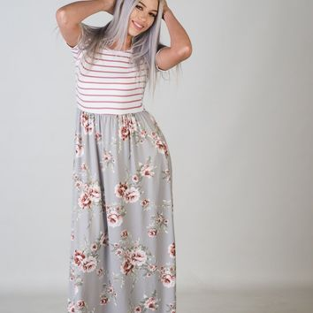Grey Floral and Mauve Striped Maxi Dress (S-XL)