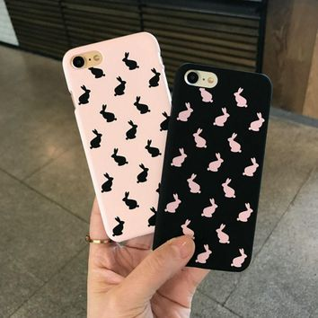 Case Of Animals On Print For Apple iPhone 6 Plus 6 6S 7 Plus 7 8 8 Plus Cases For Girl Rabbit Style Hard Back Cover Phone Shell
