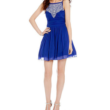 B. Darlin Spaghetti Strap Illusion Beaded Yoke Dress | Dillards