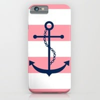 Anchor and Wide Stripes iPhone & iPod Case by heartlocked