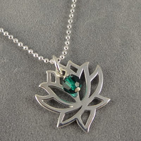Lotus Flower Necklace - Sterling - Custom Swarovski Birthstone - Meditation - Yoga