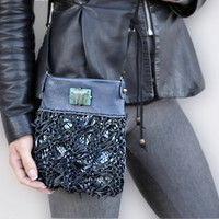 Small crossbody bag, black blue leather purse, cell phone pouch