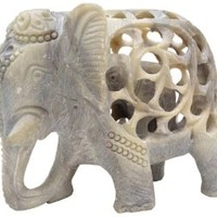 SouvNear Handmade Soapstone Elephant Figurine Sculpture of Mother Elephant with Baby Inside - Impossible Elephant Decor Statue from India