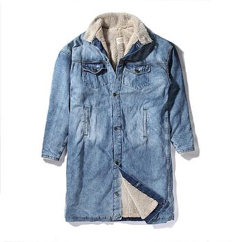 New Fashion Winter Fleece Cashmere Thick Sherpa Style Women Men's Coat Hip Hop Casual Warm Denim Vintage Washed Outwear