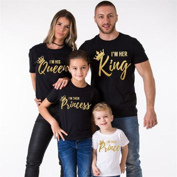 YorkZaler Family Matching Clothing Print Golden Letters Cotton T-shirt KING QUEEN PRINCE PRINCESS T shirt Family Look