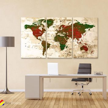 "LARGE 30""x 60"" 3 panels 30x20 Ea Art Canvas Print Watercolor Map World Push Pin Travel M1824"