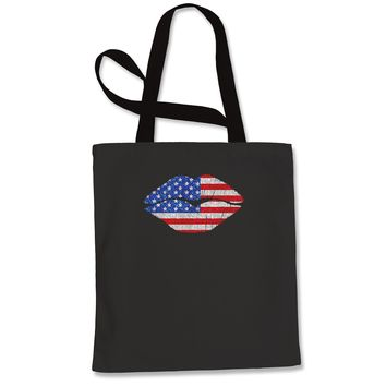 Patriotic Lips with USA Flag Shopping Tote Bag