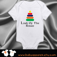 Lord of the Rings Baby Clothing, Funny Baby Clothing, White Baby Bodysuit, Newborn gift, Geekery Baby, by BabyApparels.etsy.com