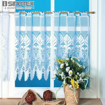 Roman Curtain Lace Decoration Sheer Window Half Curtain For the Kitchen Living Room Bedroom Warp Knitted Drape Panel 1 PCS/Lot