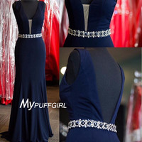Navy Blue Plunging V Neck Sheath Evening Gown With V Back