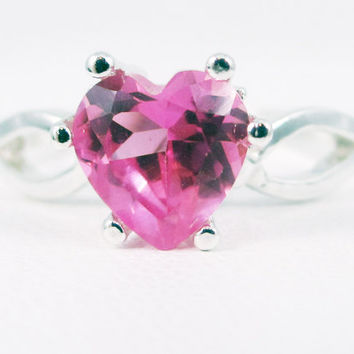 Pink Sapphire Heart Sterling Gemstone Silver Ring Handmade