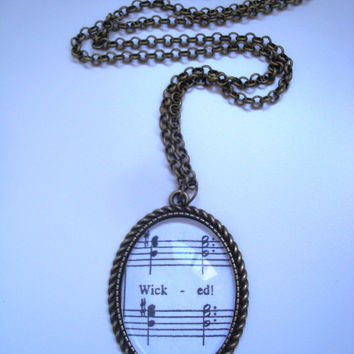 Wicked sheet music necklace (No One Mourns the Wicked)