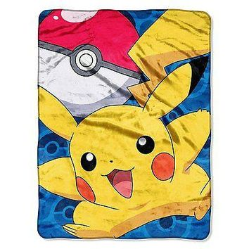 Pokemon Go Pikachu 46x60 Micro Raschel Plush Throw FREE US SHIPPING