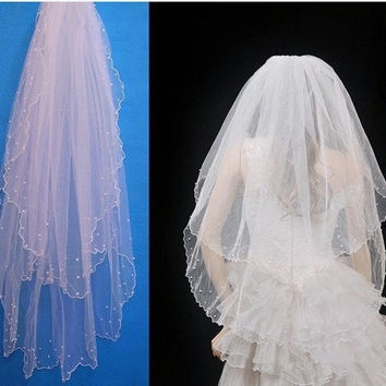 White Pearl Satin Edge With Comb Double Layers 2 Tiers Bridal Wedding Veil = 1929500548