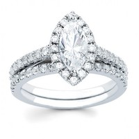 1 1/2ct tw Diamond Halo Engagement Ring in 14K White Gold - Designer Prototypes - Engagement Rings