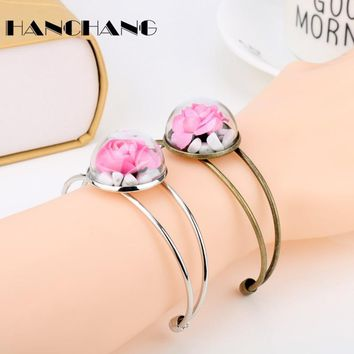 Beauty and Beast Jewelry Female Vintage Accessories Monster Wishing Rose Dry Flower With Stones Bangles Bracelets for Women