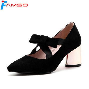FAMSO 2018 New Shoes Women Pumps Big Size 34-43 Spring Autumn Black red Pink Wedding Shoes Gold Heels Women's Platforms   Pumps