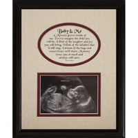 8x10 BABY & ME Picture & Poetry Photo Gift Frame ~ Cream/Burgundy in BLACK Frame ~ Heartfelt Keepsake Picture Frame for an Expecting Mom/Mother to hold an Ultrasound/Sonogram Photo!