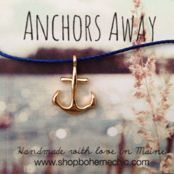 Golden Anchor Charm Necklace