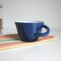 Ceramic mug Ocean blue Glazed cup Breakfast mug Original handle - ready to ship