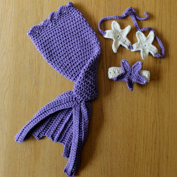 Purple Jeweled Pearl Baby Crochet Mermaid Set. Baby Mermaid Photo Prop Outfit/Costume