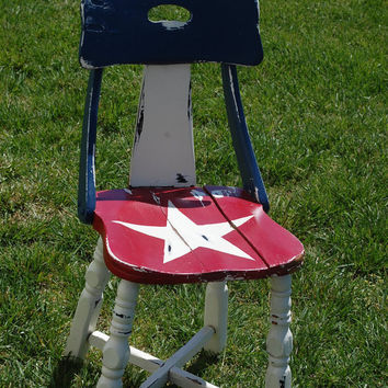Reclaimed Vintage Americana Decor Chair / Retro 1950s American Upcycled Antique / Red White and Blue / Hand painted original / one of a kind