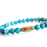 Breathe Mala Bracelet Yoga Jewelry Beaded Stretch Spiritual Healing Protection Agate Unique Gift For Her Under 20 Item Y30