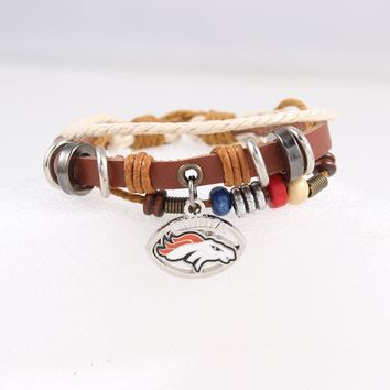 2017 Hot New Bowl American Football Fans Denver Broncos Charm Leather Bracelet Friendship Women Men Bracelet 6pcs/lot