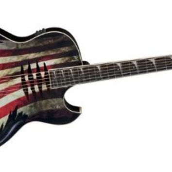 "Dean MAKOGLORY Acoustic-Electric Guitar - ""Glory"" USA Flag Graphic"