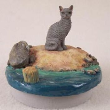 "BLUE CORNISH REX CAT CANDLE TOPPER TINY ONE ""A DAY AT THE BEACH"""