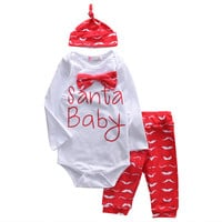 Christmas 3PCS Set Newborn Baby Girl Long Sleeve Rompers Pants Hat Xmas Outfit Clothes baby Girls clothes newborn 3pcs suit