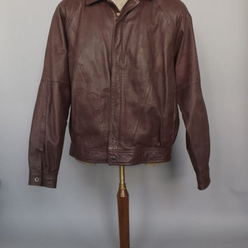 Mens Vintage 1980s Chestnut Brown Wilsons Size 46 Genuine Leather Fall Jacket Coat Mens Blazer Bomber Leather Motorcycle Jacket Boho Hipster