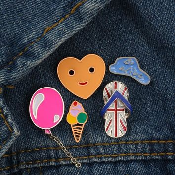 Trendy Cartoon Balloon Cloud Slipper Ice Cream Smile Face Pins Brooch Button Clothing Denim Jacket Shirt Pin Badge Jewelry Gift for Kid AT_94_13