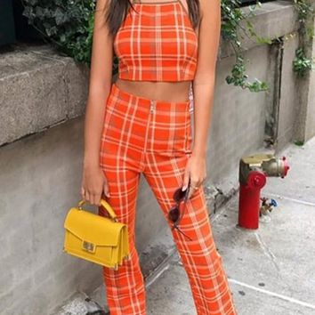 Orange Plaid Midriff 2-in-1 Zipper Fashion Long Jumpsuit