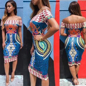 Women Dress Traditional African Print Dashiki Bodycon Sexy Short Sleeve Dresses