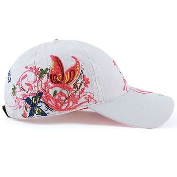 DCCKWJ7 Hot Summer Women Lady Flowers Printed Butterfly Embroidered Golf Hat Adjustable Baseball Cap